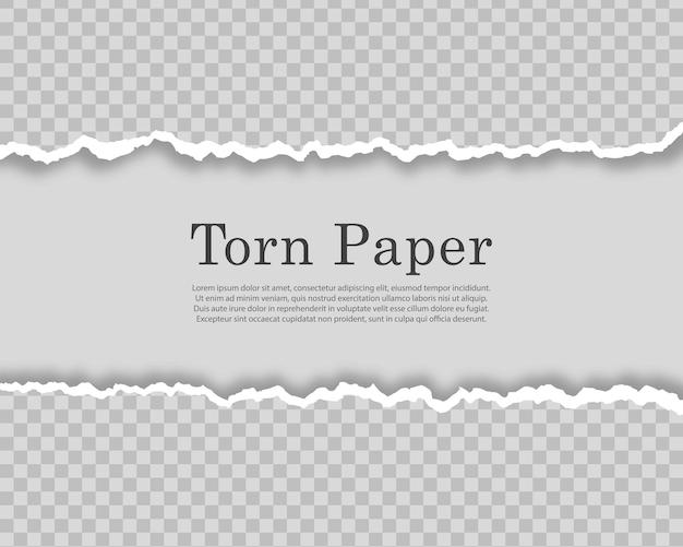 Bandes de papier déchirées et déchirées bordures de carton endommagées