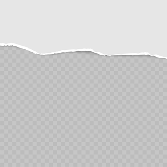 Bandes de papier gris horizontales carrées déchirées pour texte ou message.