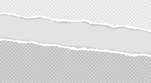 Bandes de papier horizontales carrées déchirées pour texte ou message. bord de papier déchiré.