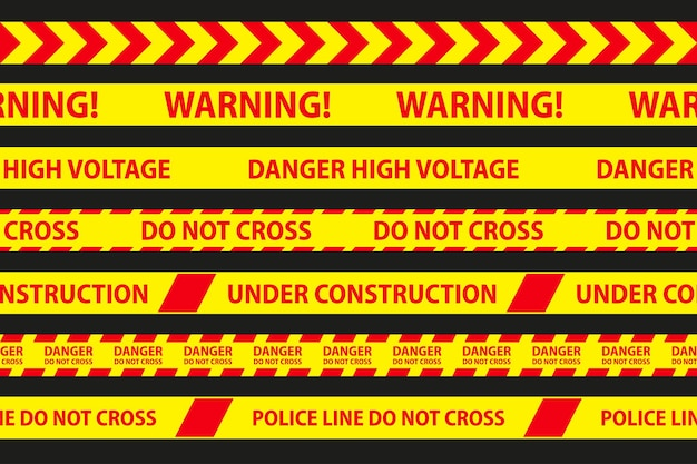 Bandes sans couture de danger, de prudence et d'avertissement. bordure de bande de police rouge et jaune. illustration vectorielle de la criminalité.