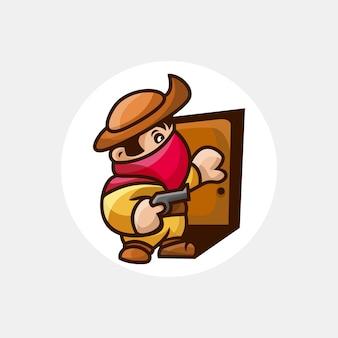 Bandit avec personnage de pistolet