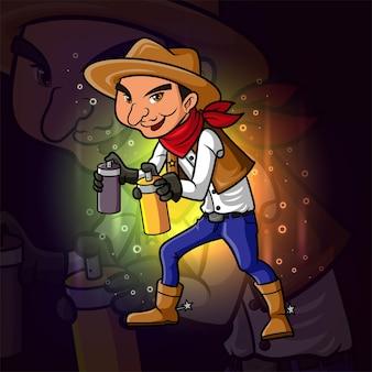 Le bandit avec le spray de peinture mascotte esport design d'illustration