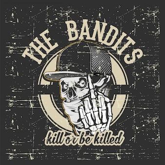 Bandits de crâne portant casquette et bandana dessin à la main