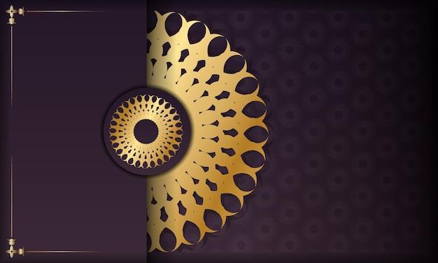 Baner de couleur bordeaux avec un mandala avec un ornement doré et une place pour le logo ou le texte