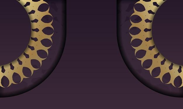 Baner de couleur bordeaux avec motif en or indien pour la conception sous logo ou texte