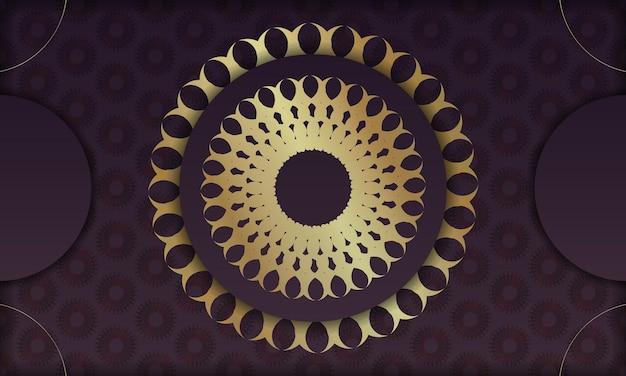 Baner de couleur bordeaux avec ornement indien en or pour la conception sous logo ou texte
