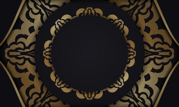 Baner En Noir Avec Un Motif Doré Luxueux Et Un Espace Pour Votre Logo Ou Texte Vecteur Premium