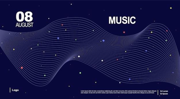 Baner pour la page de musique page de destination de la musique conception d'affiche de vague de musique