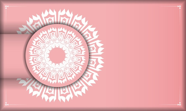 Baner rose avec ornement blanc grec pour la conception sous logo ou texte