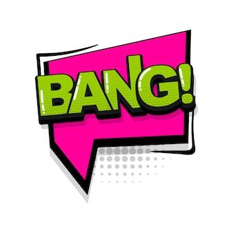 Bang texte comique effets sonores style pop art vecteur discours bulle mot dessin animé