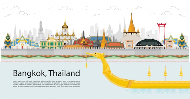 Bangkok et à travers la thaïlande avec des attractions, point de repère