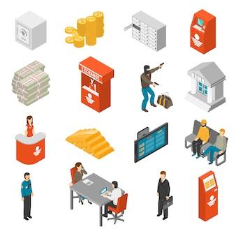 Bank isometric icons set