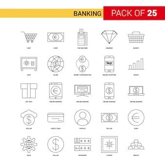 Banking black line icon - jeu d'icônes de contour 25 affaires