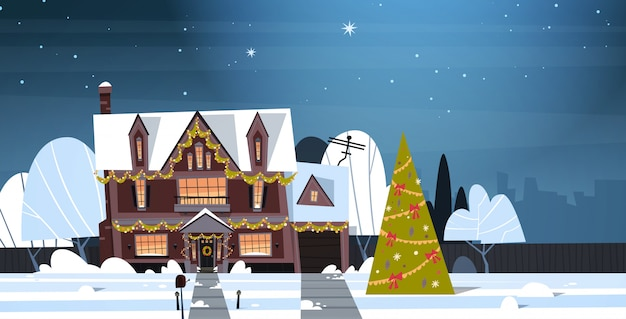 Banlieue d'hiver vue sur la ville de la neige sur les maisons avec pin décoré, joyeux noël et bonne année concept