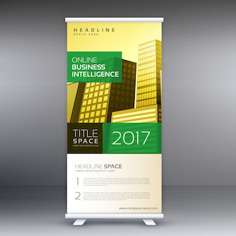 Banner roll up standee design business concept template