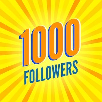 Bannière de 1000 abonnés sur rayé jaune