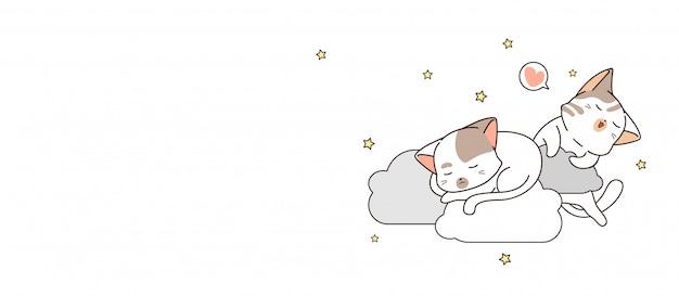 Bannière 2 adorables chats dorment sur des nuages dans la bannière de nuit