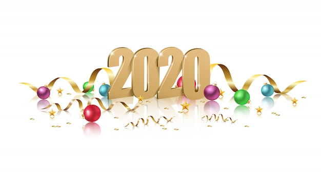 Bannière 2020 avec lettres 3d dorées, scintille, rubans et boules colorées de noël avec reflet