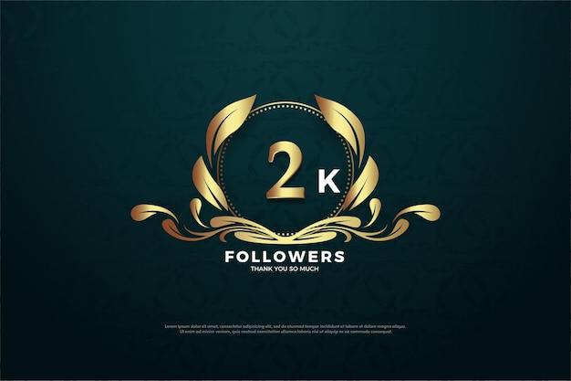 Bannière de 2k abonnés avec chiffres lumineux