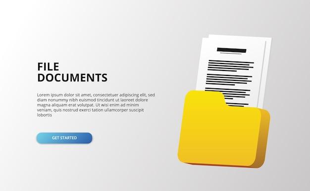 Bannière 3d avec document de fichier et illustration de dossier sur une surface blanche