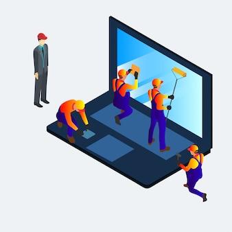 Bannière 3d isométrique de service informatique pour le web, les médias sociaux et les mobiles.