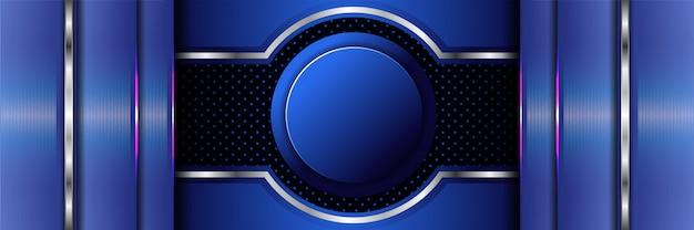 Bannière 3d luxueuse moderne abstrait bleu foncé métallique