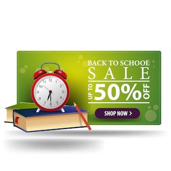 Bannière 3d verte de retour à l'école discount moderne avec bouton