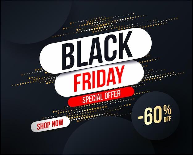 Bannière abstraite black friday avec effet de paillettes en demi-teinte or pour offres spéciales