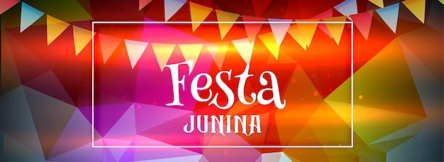 Bannière abstraite colorée festa junina