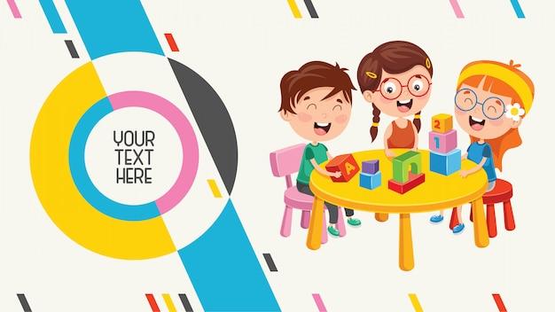 Bannière abstraite colorée pour l'éducation des enfants