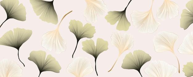 Bannière abstraite avec des feuilles de ginkgo or et vert