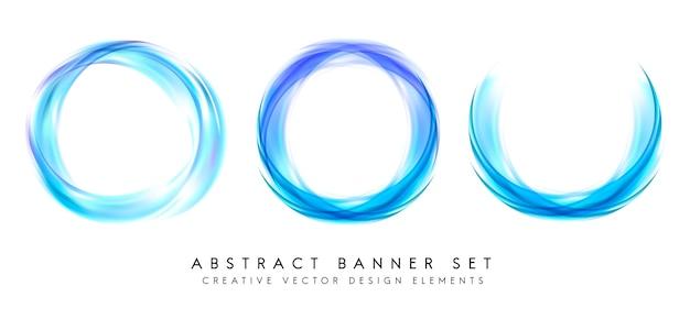 Bannière abstraite sur fond bleu