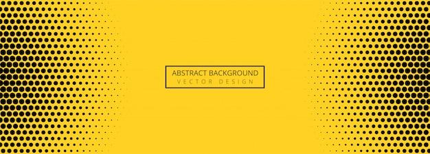 Bannière abstraite motif pointillé orange et noir