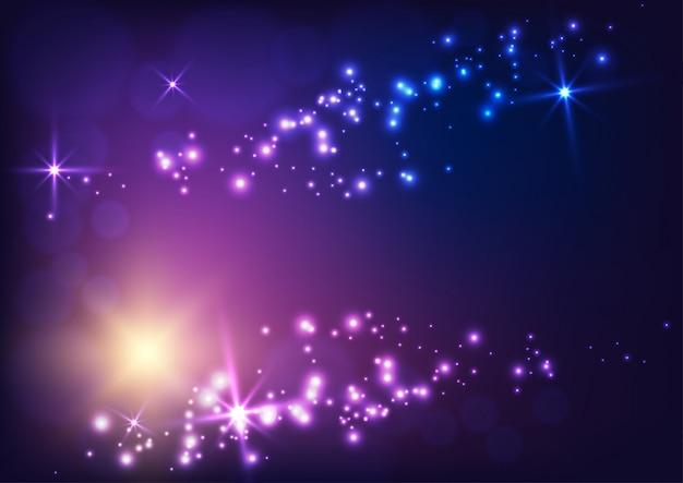 Bannière abstraite de noël avec des étoiles, des lumières, des fusées éclairantes et de la surface pour le texte sur bleu foncé à violet.