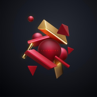 Bannière abstraite avec nuage de cluster de formes géométriques 3d rouge et or