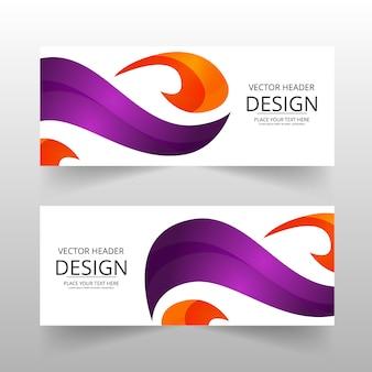 Bannière abstraite orange et violette
