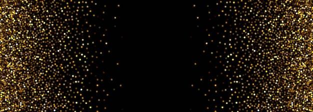 Bannière abstraite de particules noires et dorées