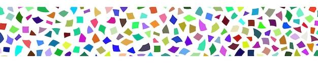 Bannière abstraite de petits morceaux de papier de couleur ou d'éclats de céramique sur fond blanc