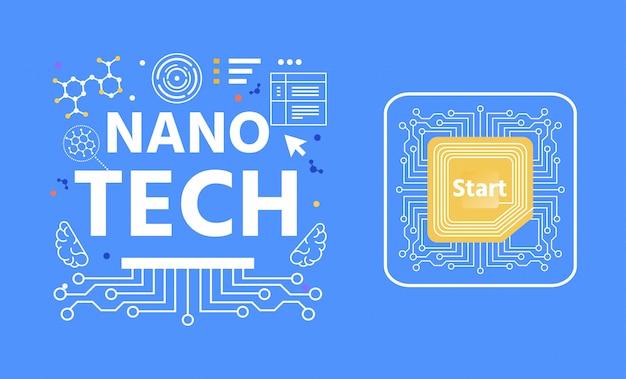 Bannière abstraite de publicité de lettrage nano tech