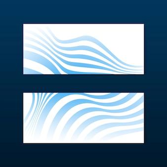 Bannière abstraite rayée bleue et blanche