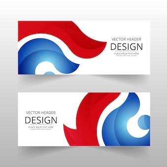 Bannière abstraite rouge et bleue