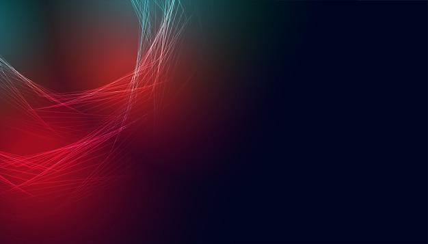 Bannière abstraite rougeoyante avec des lumières rouges et bleues