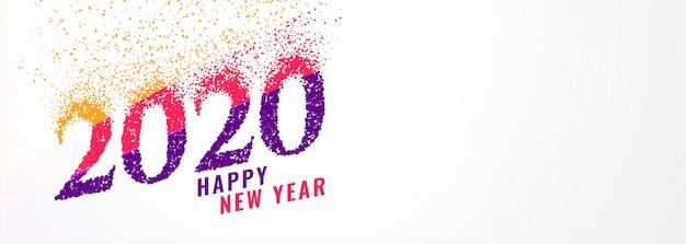Bannière abstraite tendance 2020 nouvel an avec des étincelles