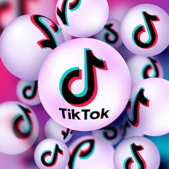 Bannière abstraite tiktok avec boules 3d