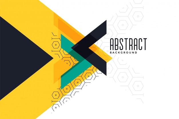 Bannière abstraite de triangle jaune thème élégant
