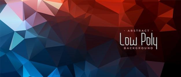 Bannière abstraite triangulaire low poly en deux couleurs