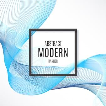 Bannière abstraite avec des vagues abstraites bleues