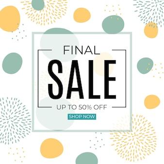 Bannière abstraite de vente finale dans un style minimaliste simple