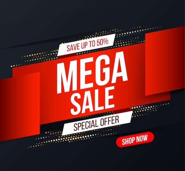 Bannière abstraite de vente mega avec effet de paillettes en demi-teinte d'or pour des offres spéciales