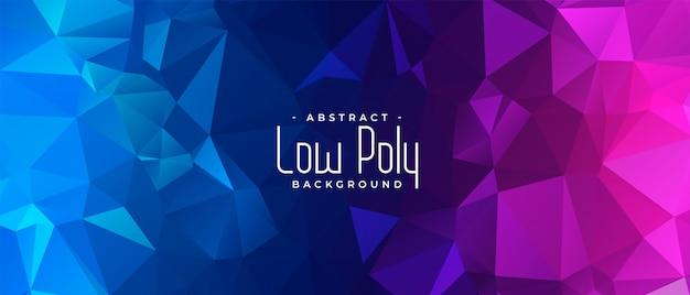 Bannière abstraite vibrante low poly bleu et rose